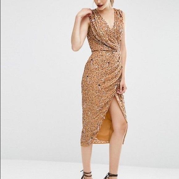 Asos Dresses Drape Front Sequin Dress Poshmark